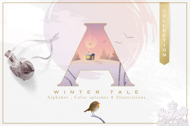 A Winter Tale Collection-illustrated alphabet letters