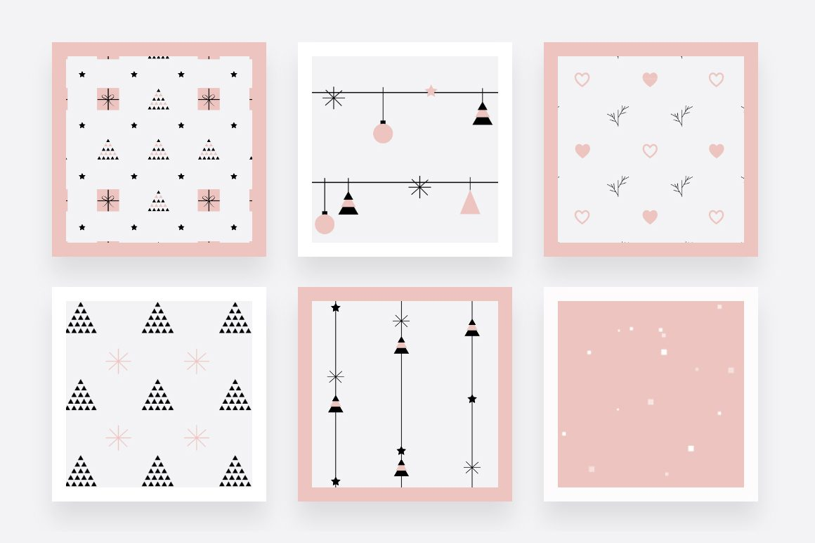 Rose Gold Christmas patterns