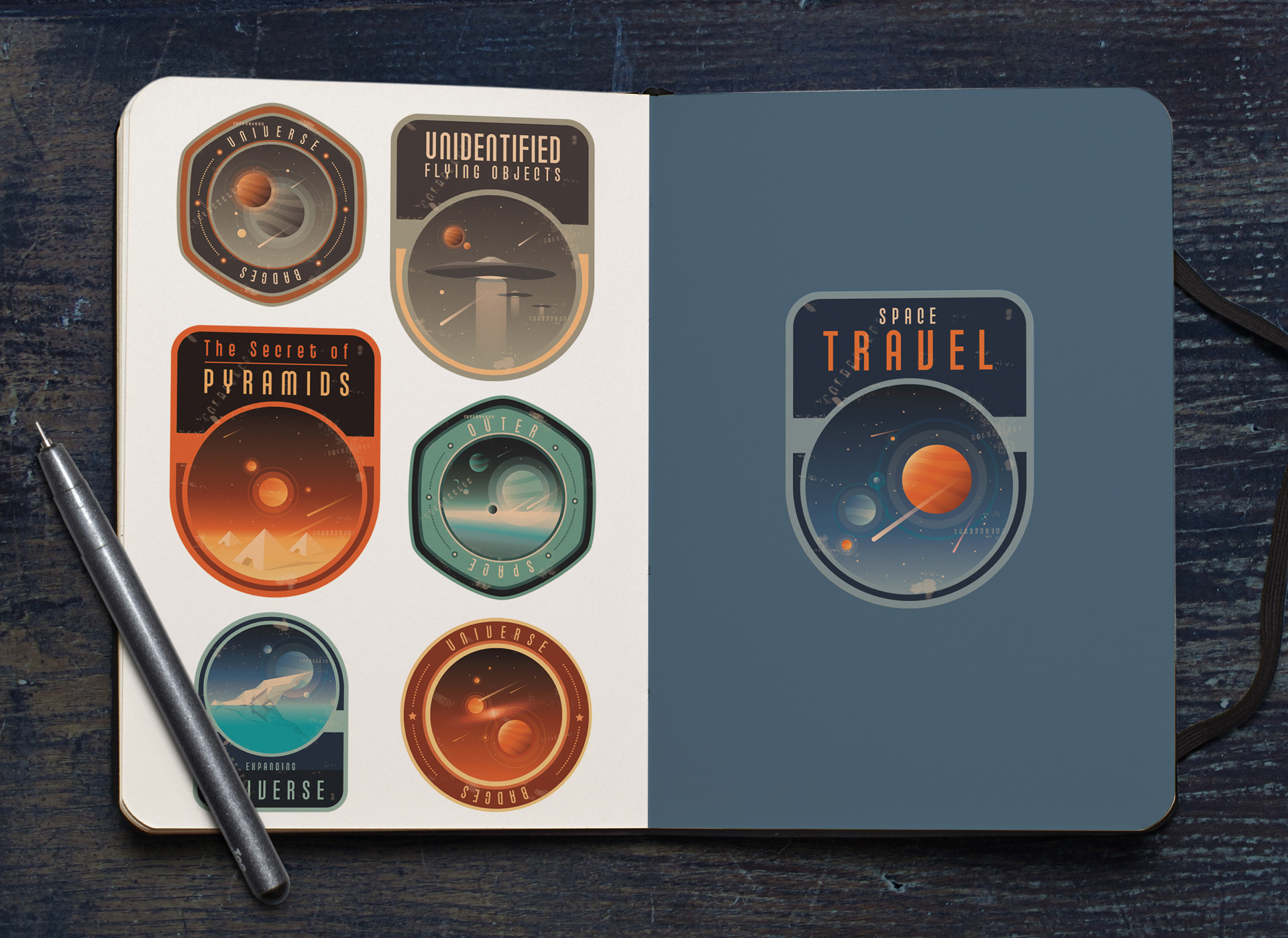 Create your own universe theme logo badges polar vectors for Design your own space
