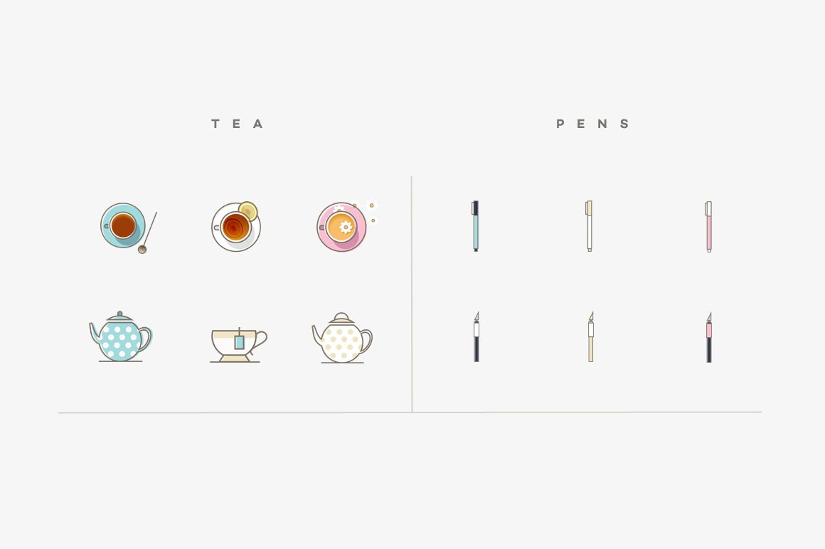 Styled stock photography icons