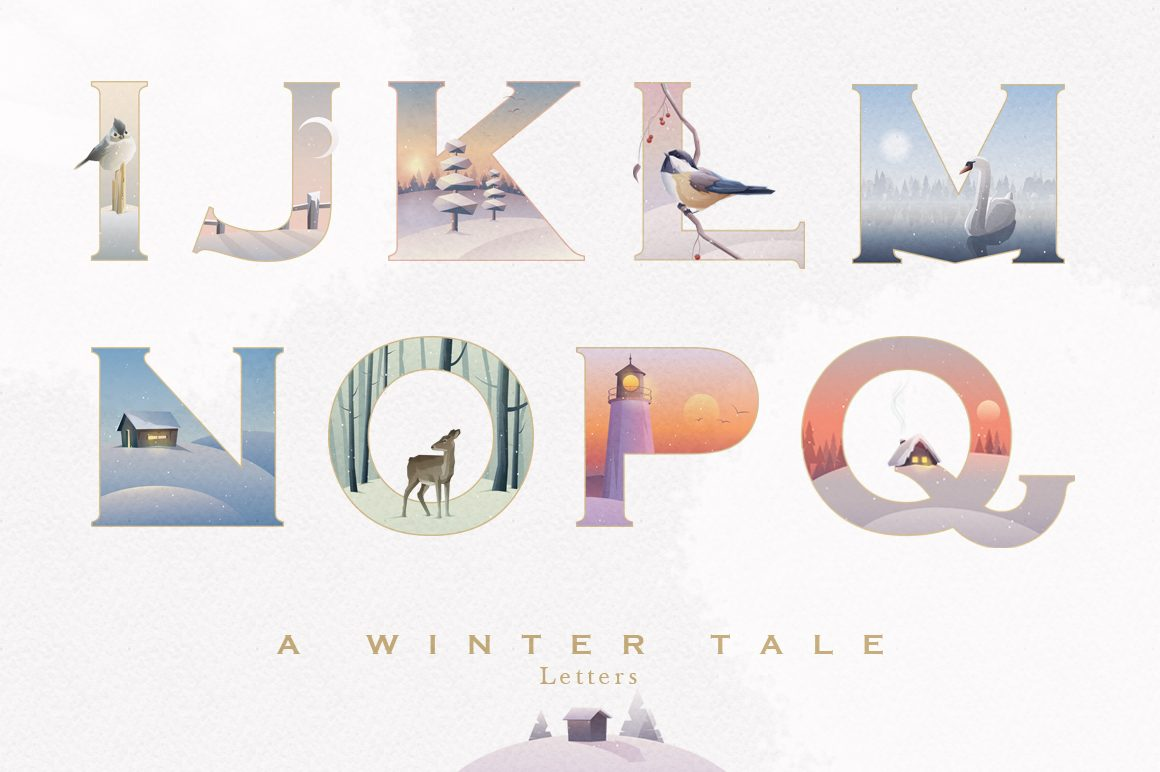 A Winter Tale Collection- illustrated alphabet letters