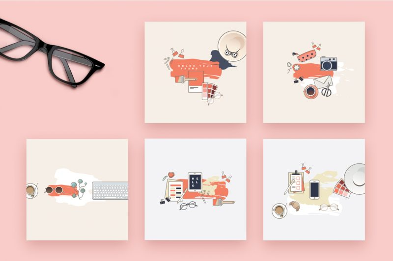 Her Workspace Illustrated Instagram Pack