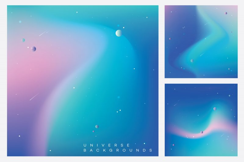Colorful Space Typography backgrounds