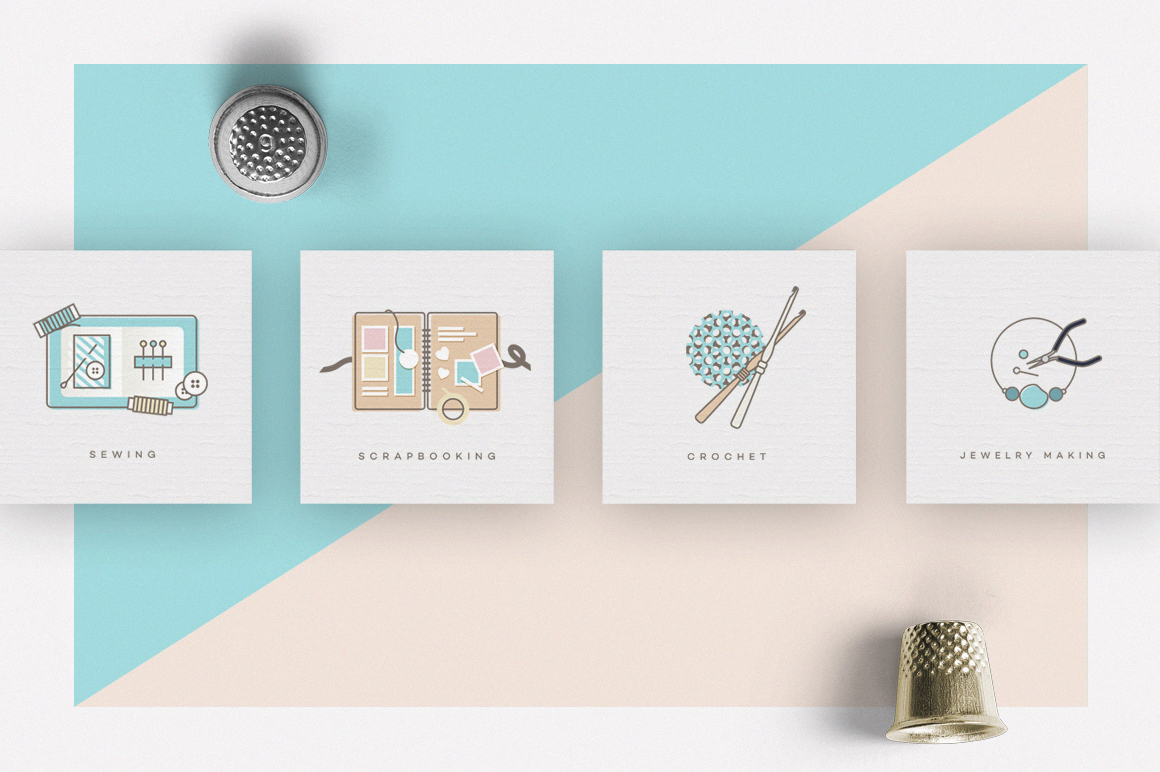 Crafts Icon Pack- Feminine collection of diy crafting icons- Polar ...