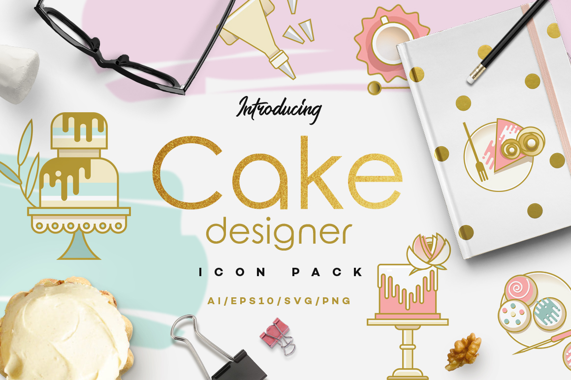 cake designer icon pack retro styled icon collection polar vectors