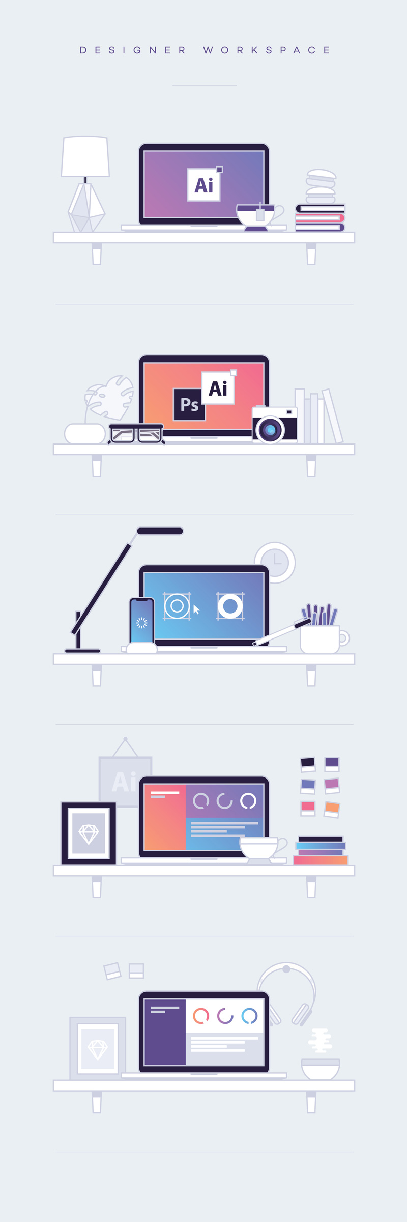 Free designer workspace illustration pack