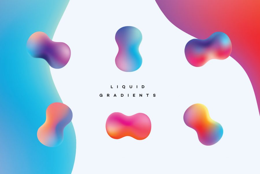 Liquid Gradients Collection - vibrant water droplets