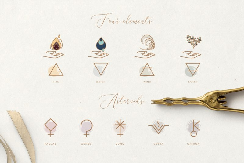 The Ultimate Astrology Icon Pack- Four Elements and asteroids