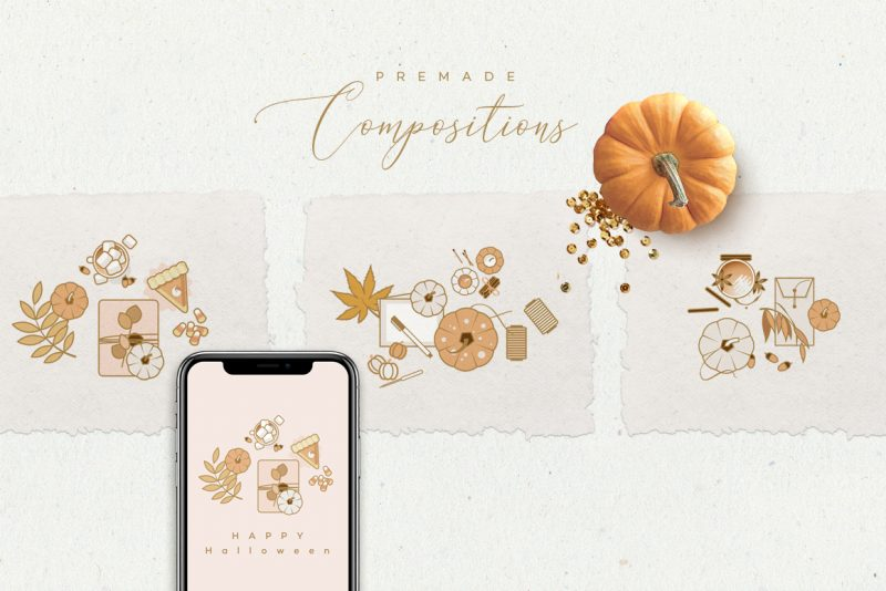 Charming Fall Icons-premade compositions