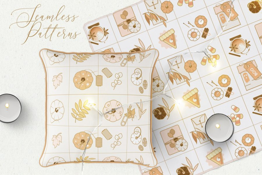 Charming Fall Icons-seamless patterns