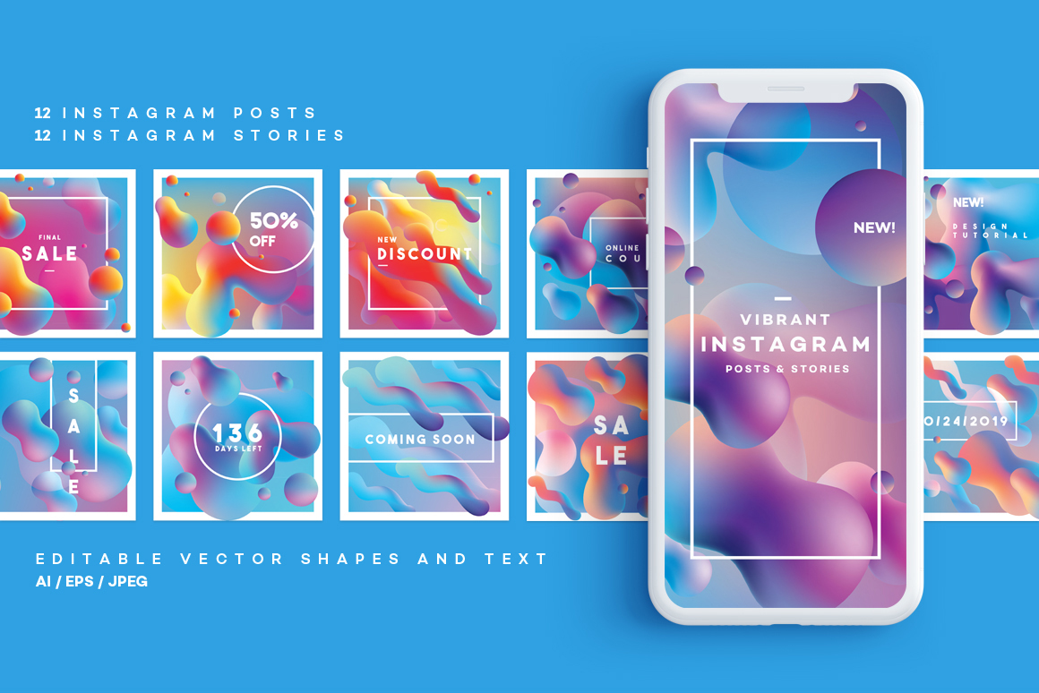 Vibrant Instagram posts and stories