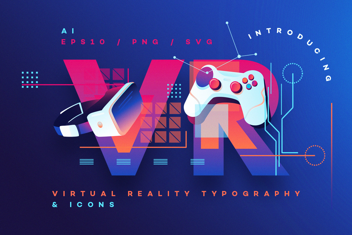 d80c663c026 VR Icons and Typography -Virtual Reality Graphics set - Polar Vectors