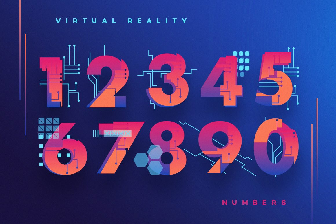 VR Icons and Typography-numbers