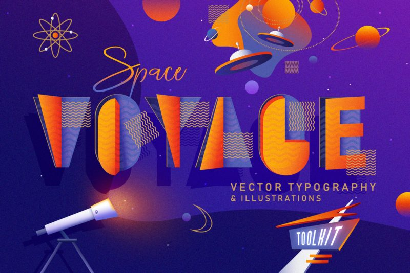 Space-Voyage--vector-typography-and-illustrations