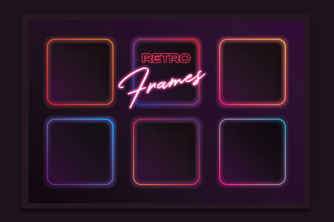 Square Synthwave retro frames in neon colors
