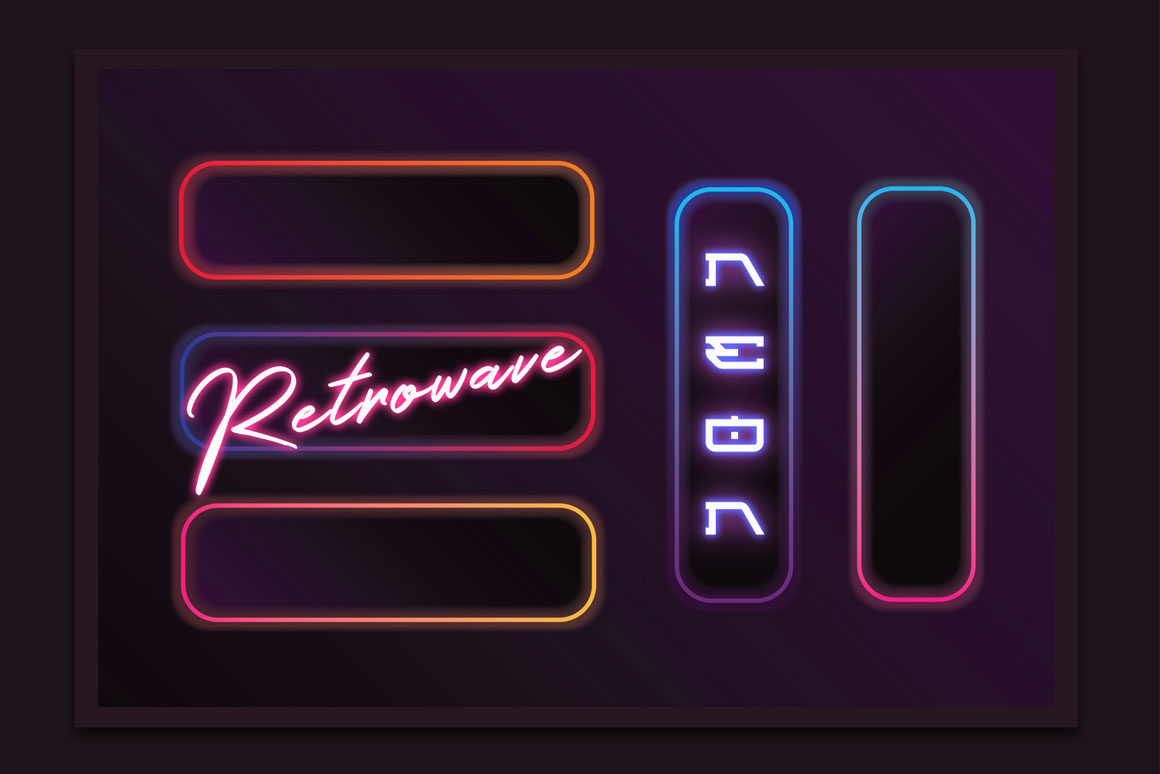 Synthwave retro frames in bright neon colors
