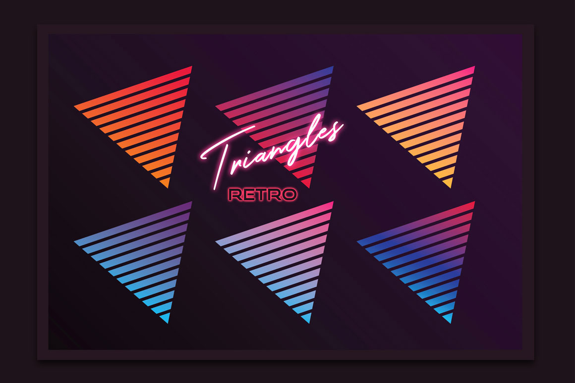 Retro triangle shapes in gradient colors