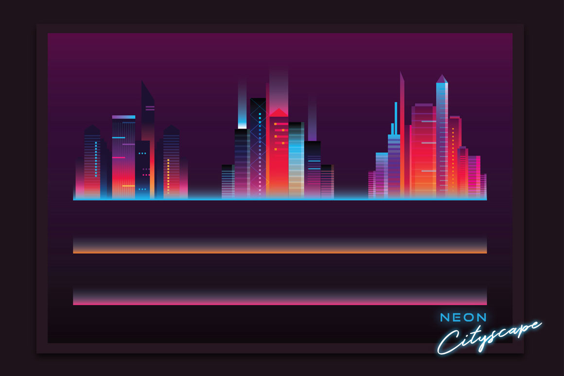 Synthwave neon cityscape