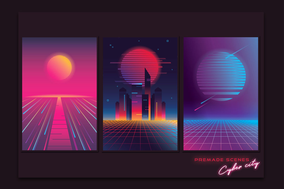 1980s Synthwave Toolkit premade scenes