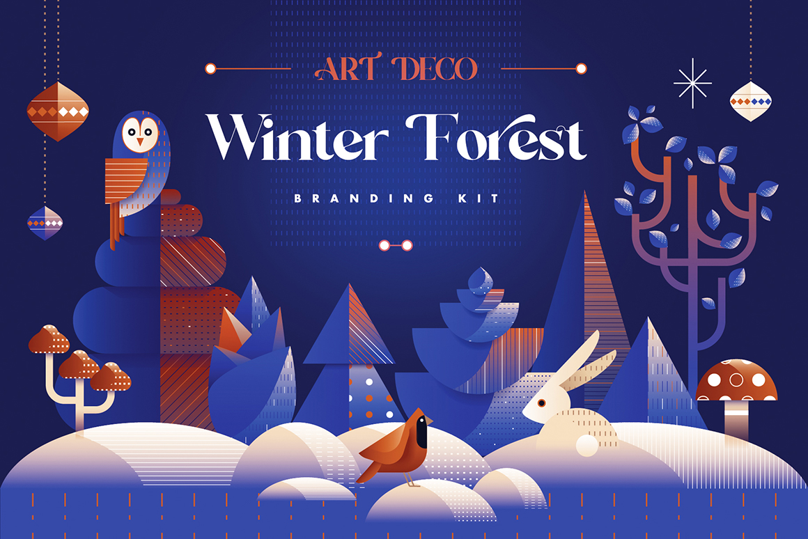 Art Deco Winter Forest Branding Kit